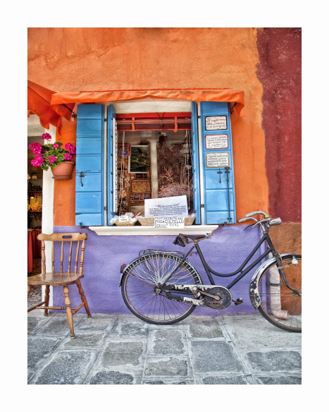 Burano  a chair and a bicycle   BU01